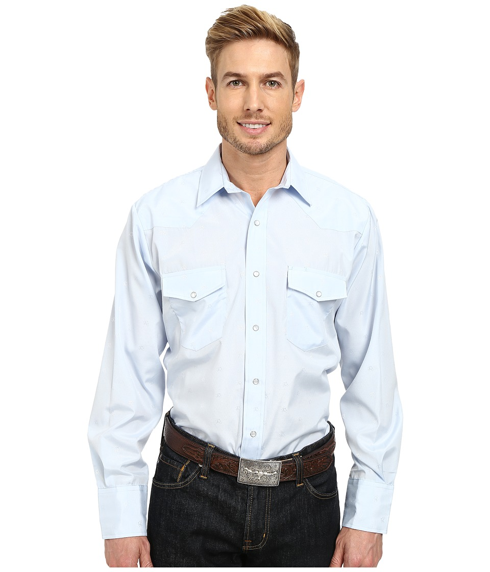 Roper - 9848 Tone On Tone Horsehead (Blue) Men's Long Sleeve Button Up