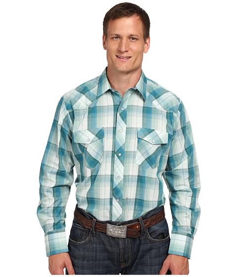Roper - 9735 Big Tall Green Blue Plaid w/ Lurex (Green) Men's Clothing
