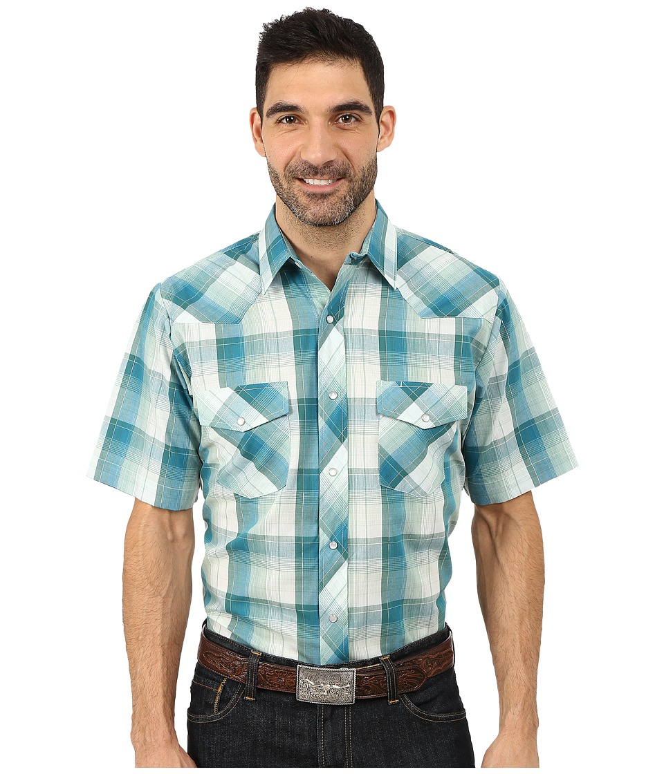 Roper - 9735 Green Blue Plaid w/ Lurex (Green) Men