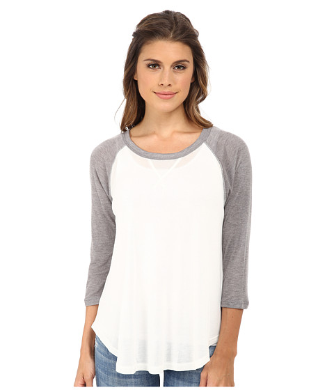 LNA - Baseball Drape Tee (White/Heather Grey) Women