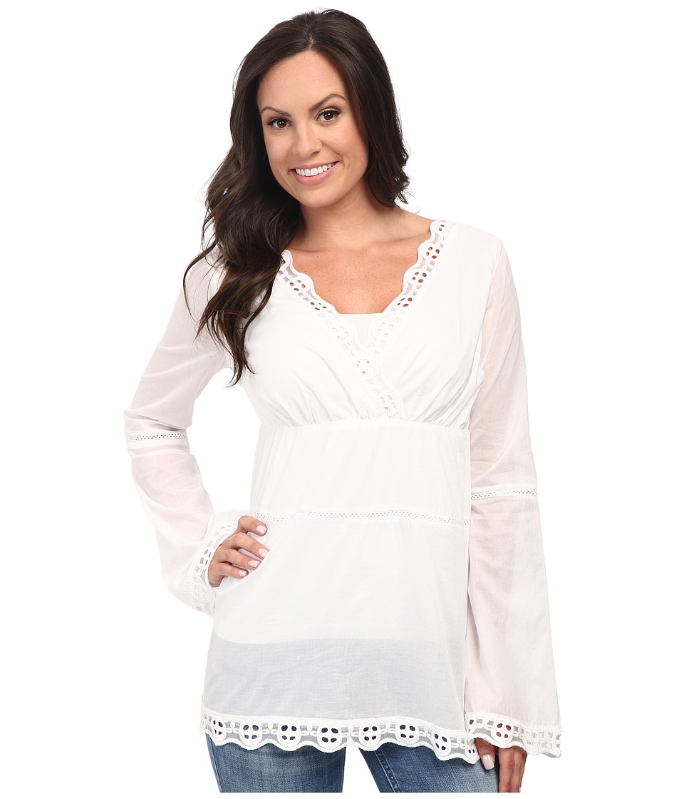 Stetson - Cotton Voile Peasant Blouse (White) Women's Blouse