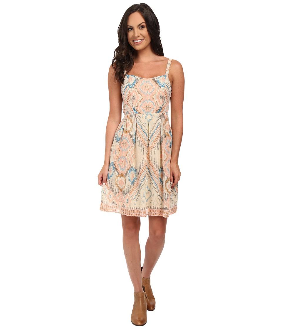 Stetson - Aztec Print Chiffon Tank Dress (White) Women's Dress