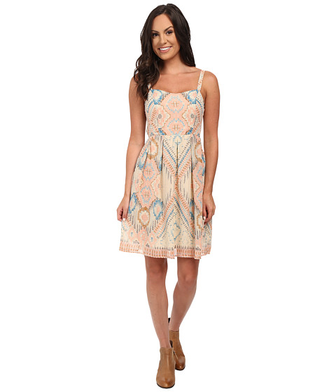 Stetson - Aztec Print Chiffon Tank Dress (White) Women's Dress