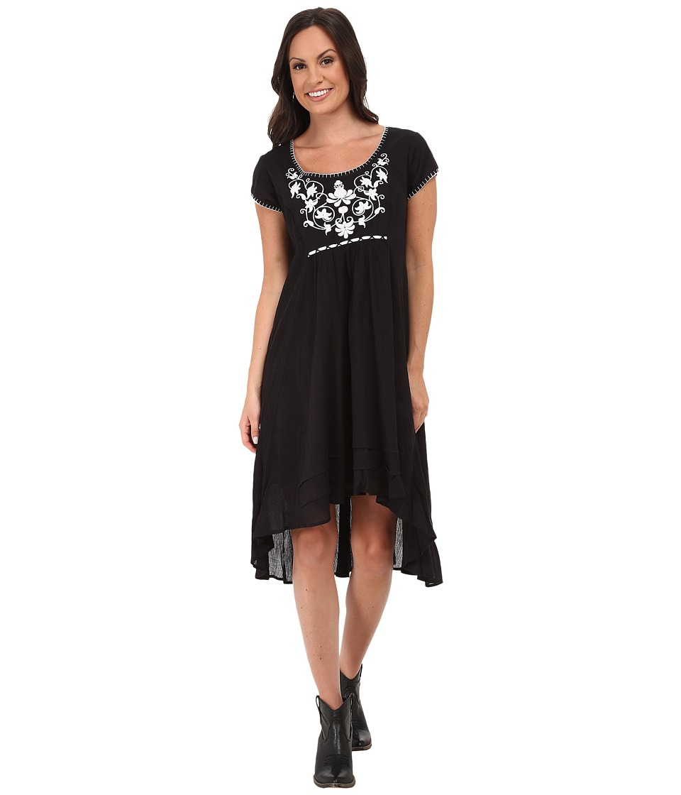 Stetson - Cotton Gauze Cap Sleeve Dress (Black) Women's Dress