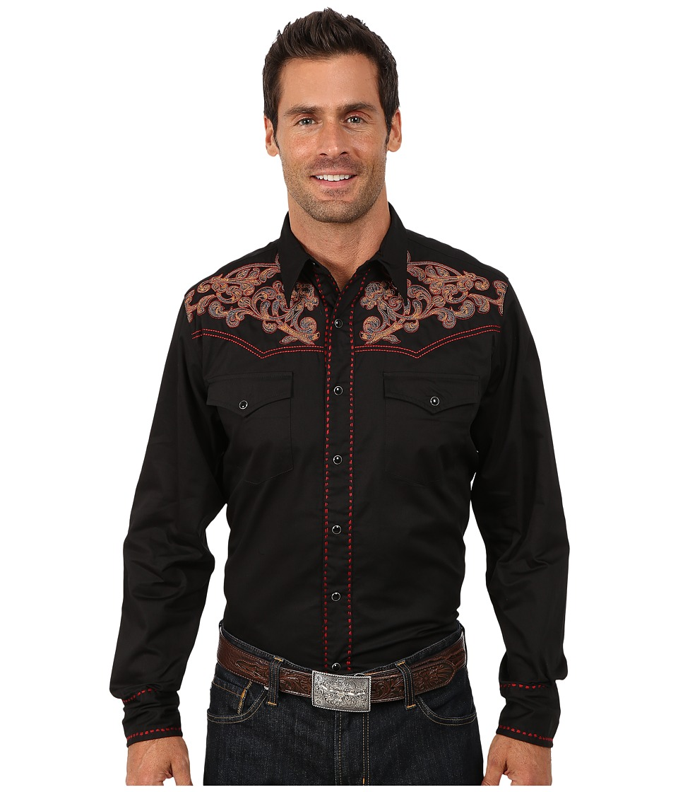 Roper - Cotton Twill w/ Stitch Tooling (Black) Men's Clothing