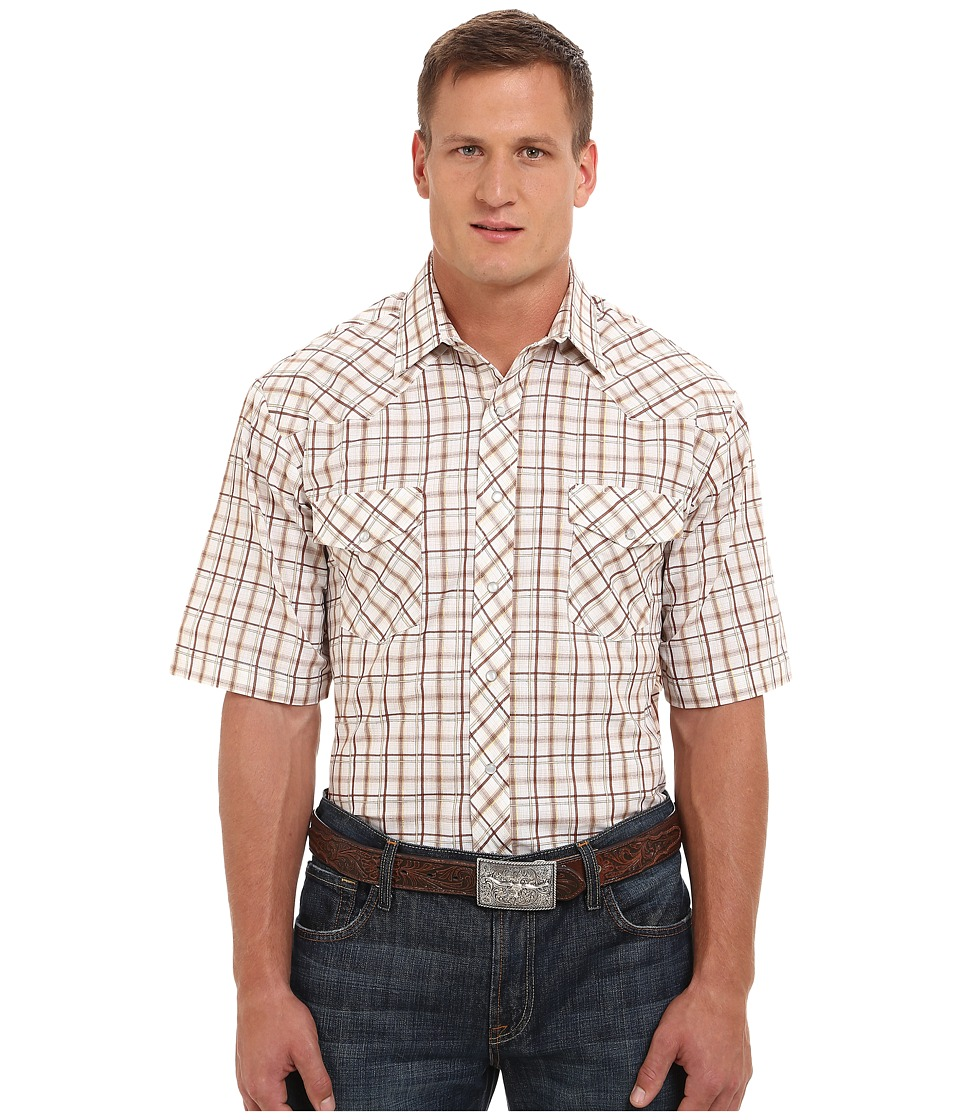Roper 9737 Brown Tan Grid w/ Lurex (Brown) Men