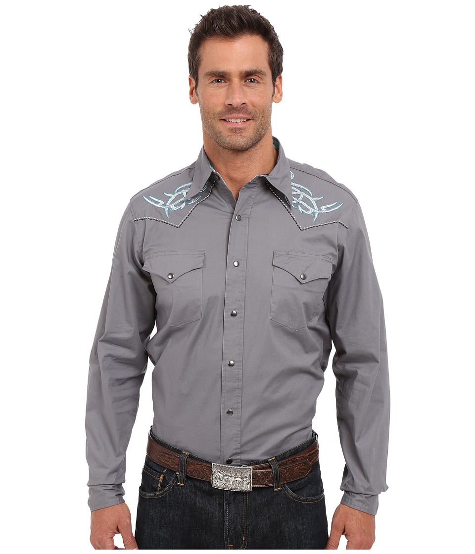 Roper - 9810C1 Solid Gray Poplin w/ Embroidery (Grey) Men's Clothing