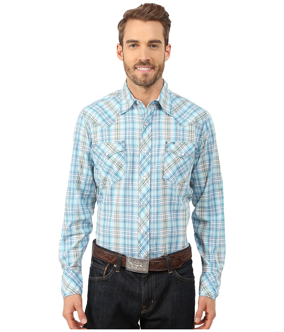 Roper - 9798 Rugged Dobby (Blue) Men's Long Sleeve Button Up