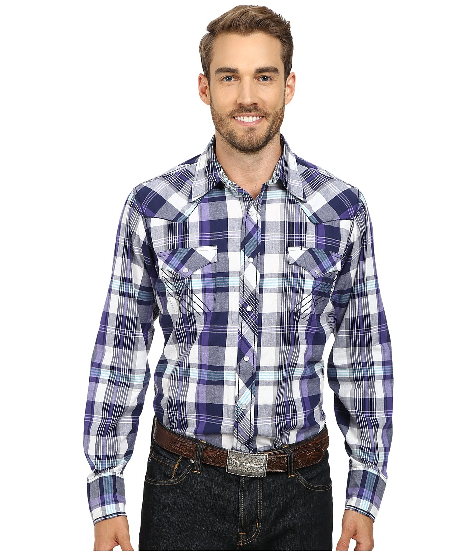 Roper - 9796 Eastern Plaid (Purple) Men's Long Sleeve Button Up