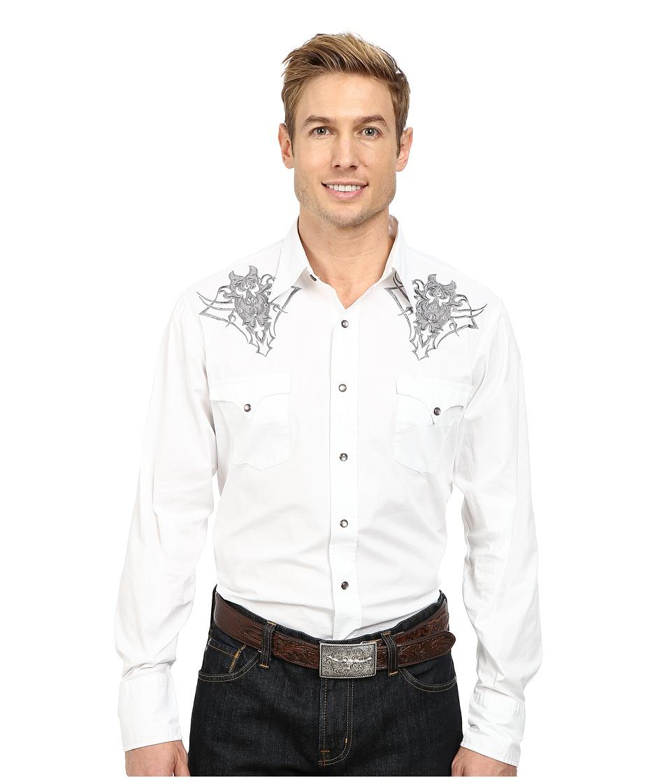 Roper 9810C2 Solid Poplin White White Mens Long Sleeve Button Up
