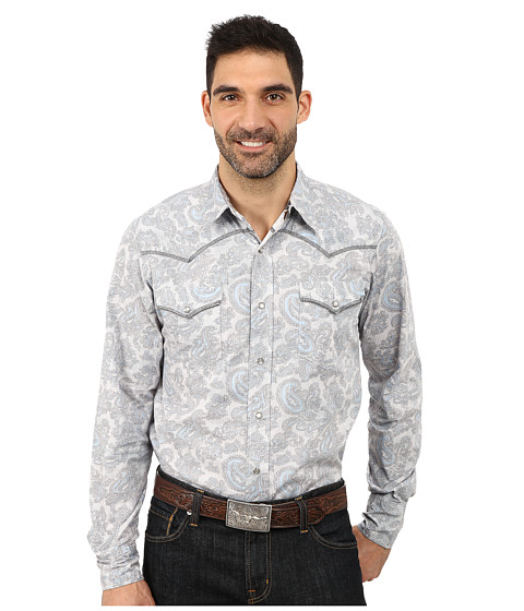 Roper - 9809 Soft Paisley (Blue) Men's Clothing