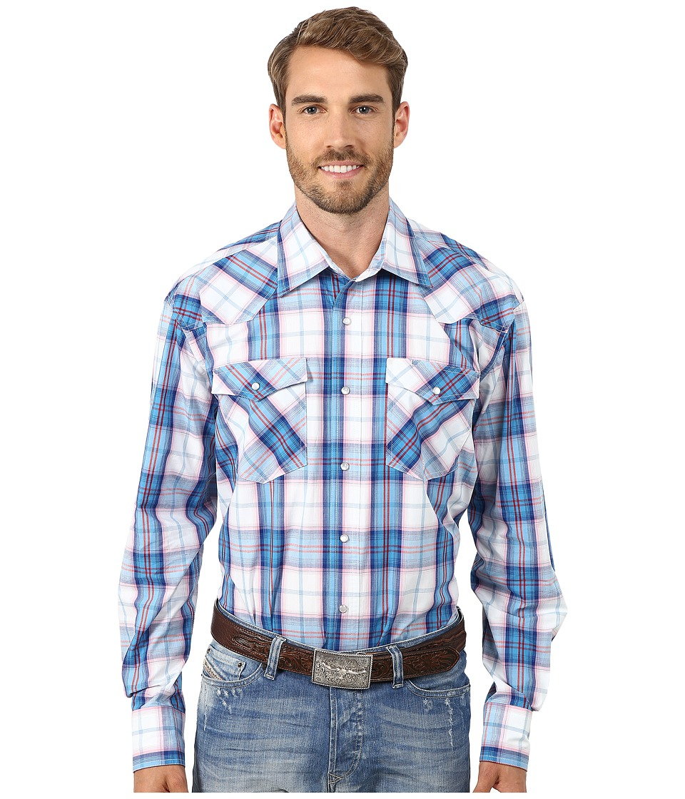 Roper - 9763 Blue Pacific Plaid (Blue) Men's Clothing