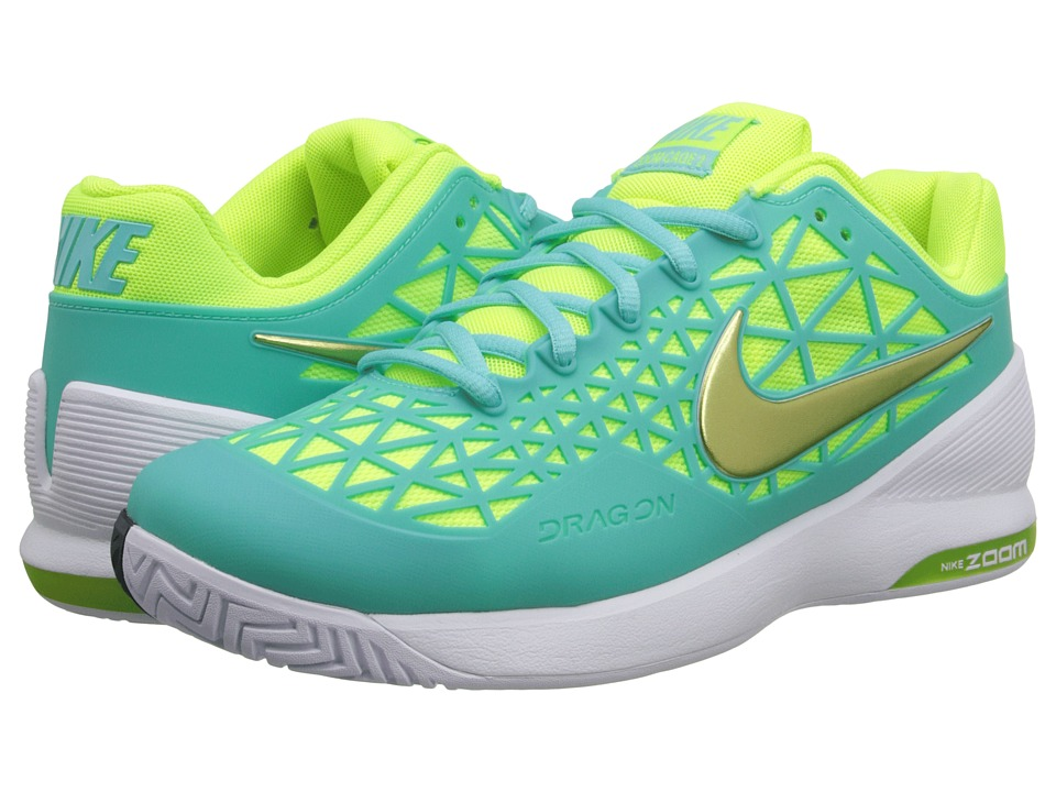 Nike - Zoom Cage 2 (Light Aqua/White/Classic Charcoal/Volt) Women's Tennis Shoes