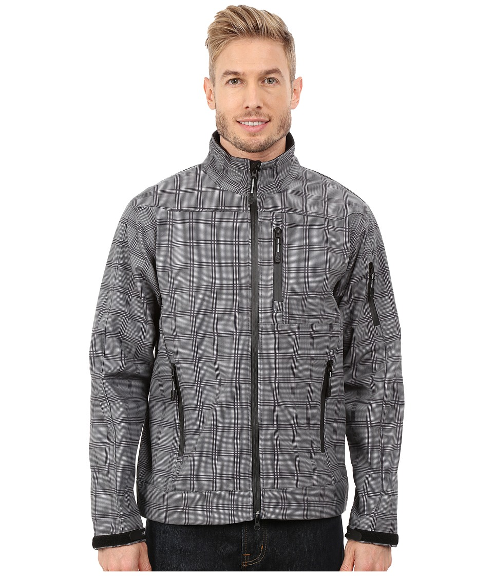 Roper - Printed Plaid On Soft Shell Jacket (Grey) Men's Coat