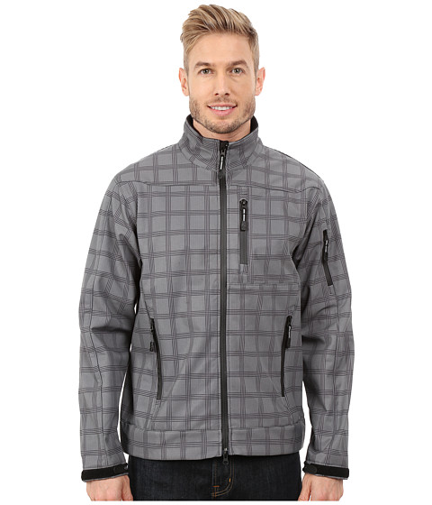 Roper - Printed Plaid On Soft Shell Jacket (Grey) Men