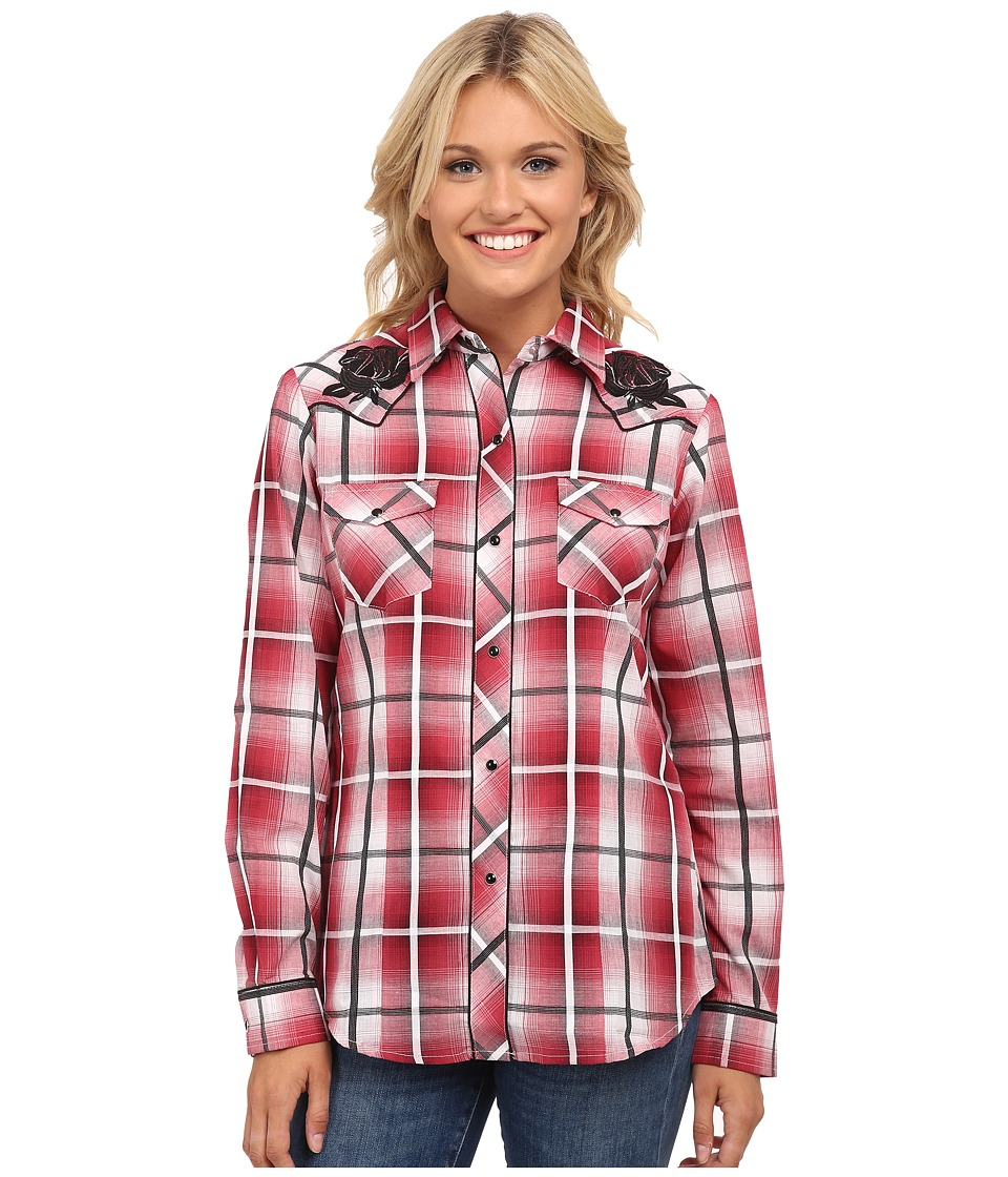 Roper - 9748 Red Ombre Large Plaid (Red) Women's Clothing