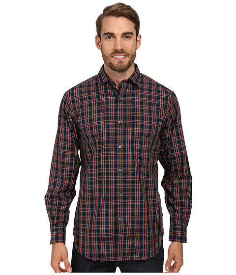 Nautica - Long Sleeve Wrinkle Resistant Medium Plaid Shirt (Buoy Red) Men's Long Sleeve Button Up