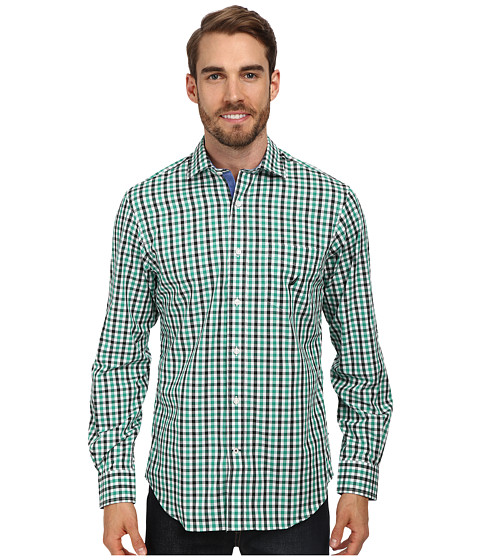 Nautica - Long Sleeve Wrinkle Resistant Check Shirt (Bosphous Green) Men's Long Sleeve Button Up