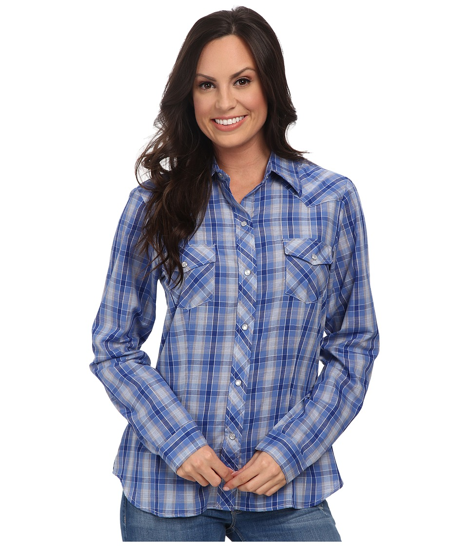 Roper - 9744 Blue Grey Small Plaid w/ Lurex (Blue) Women's Long Sleeve Button Up