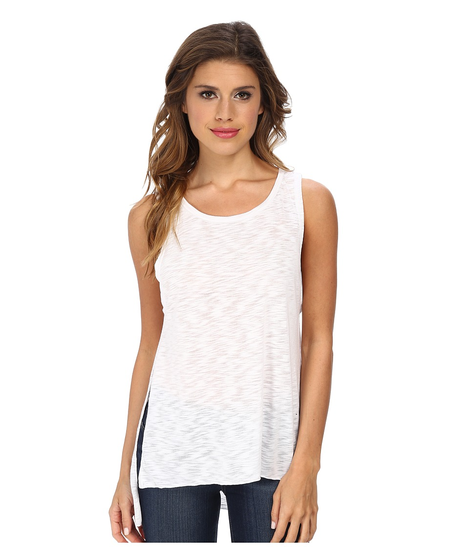 LNA - High Slit Tank Top (White) Women's Sleeveless