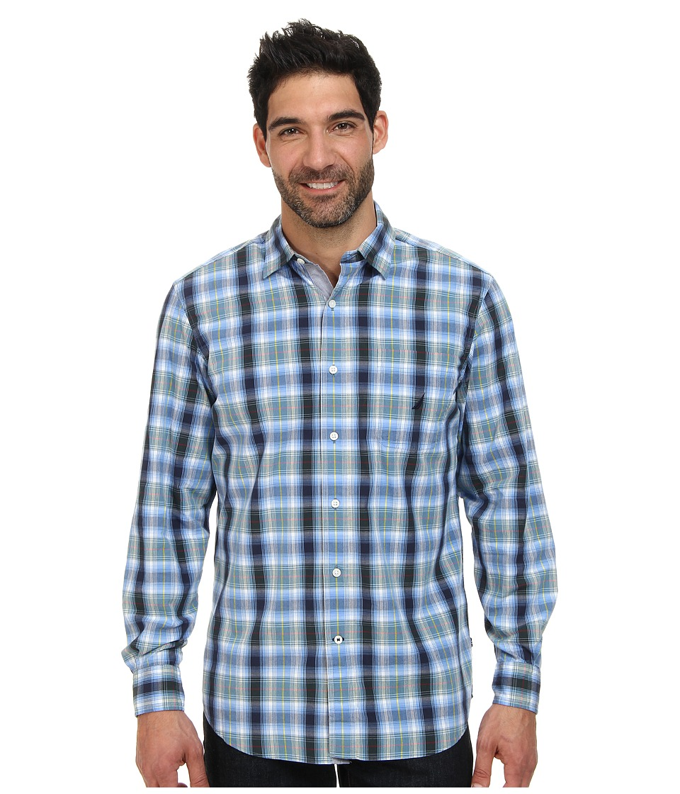 Nautica - Long Sleeve Medium Plaid Shirt (Pacific Pine Green) Men's Long Sleeve Button Up
