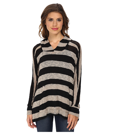 LNA - Stripe Cape Hoodie (Tan/Black) Women's Sweatshirt