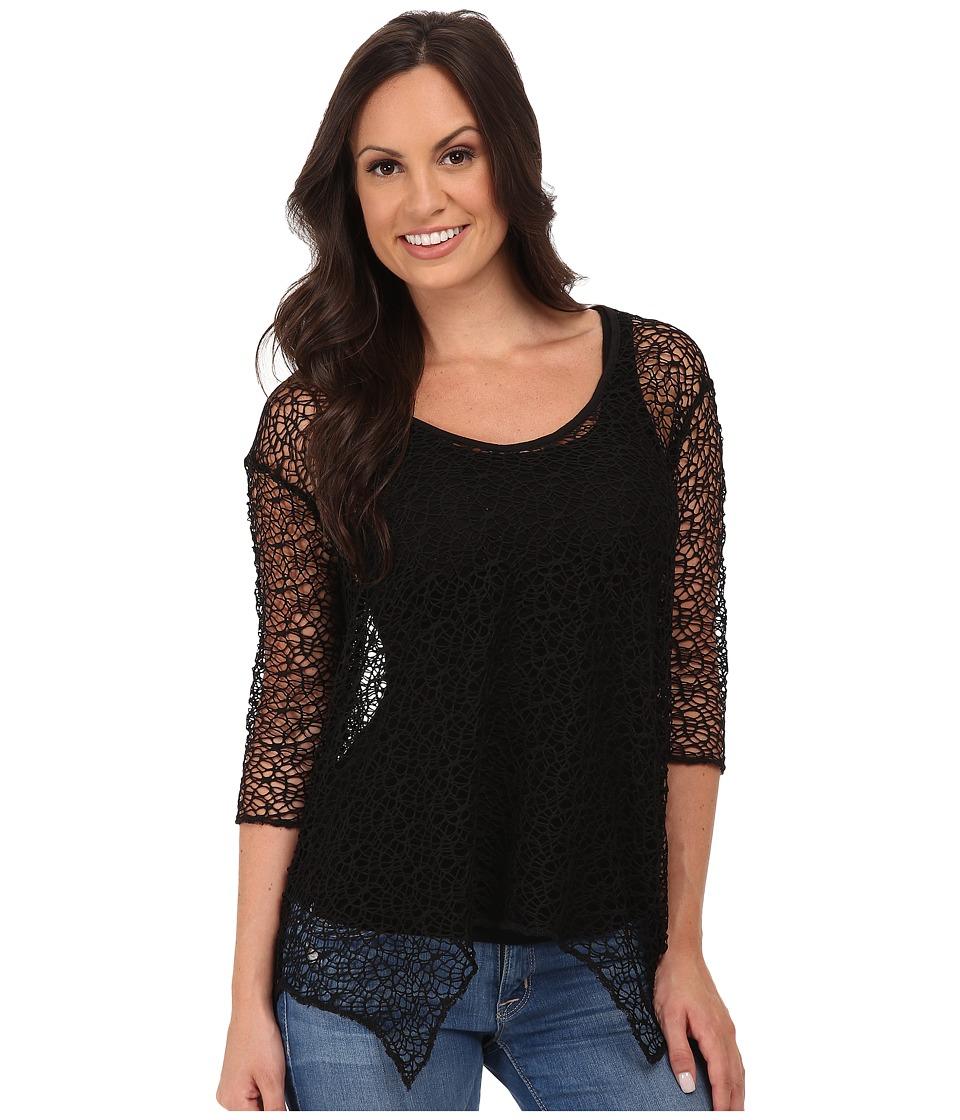 Roper - 9773 Poly Crochet Mesh Top (Black) Women