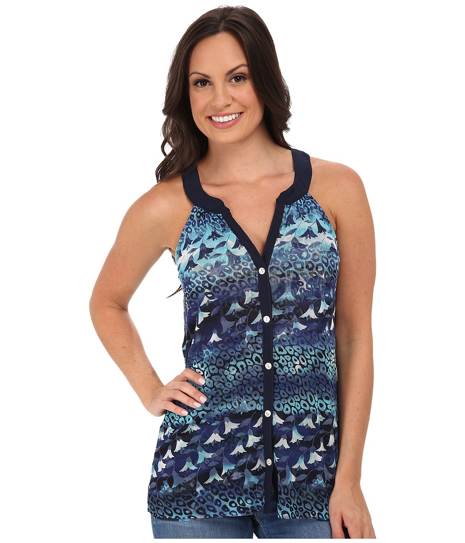 Roper - 9757 Leopard Floral Print Mesh S/L Top (Blue) Women's Sleeveless