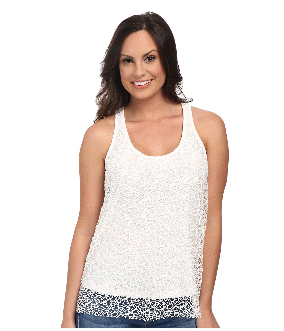 Roper - 9773 Poly Crochet Mesh Racer Back Tank (White) Women's Sleeveless