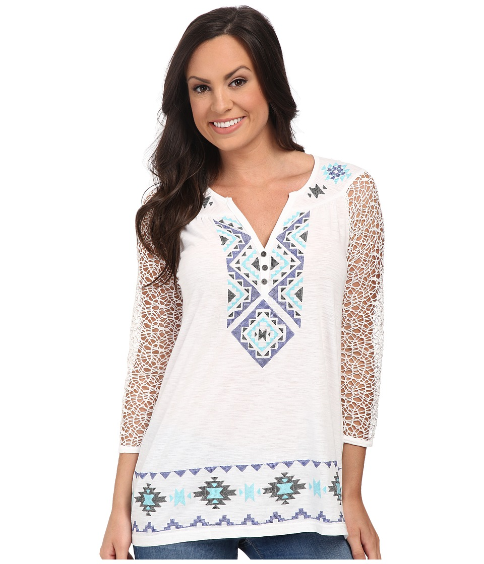 Roper - 9788 Cotton Poly Slub Jersey Tunic (White) Women's Blouse