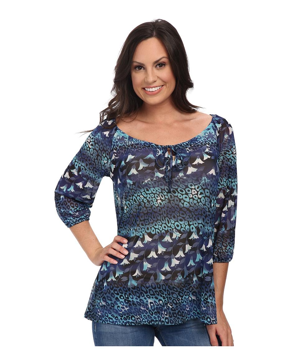Roper - 9757 Leopard Floral Print Mesh Blouse (Blue) Women's Blouse