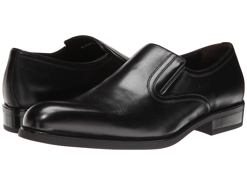 a. testoni - Nappa Slip On w/ Rubber Sole Side Vents (Black) Men's Slip on Shoes
