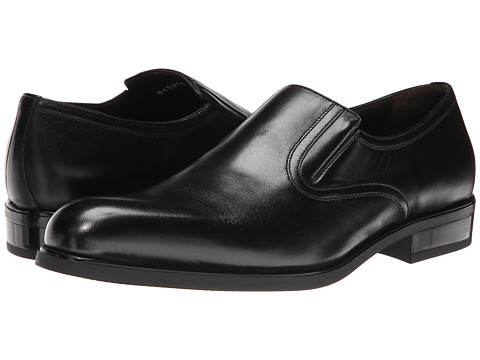 a. testoni - Nappa Slip On w/ Rubber Sole Side Vents (Black) Men