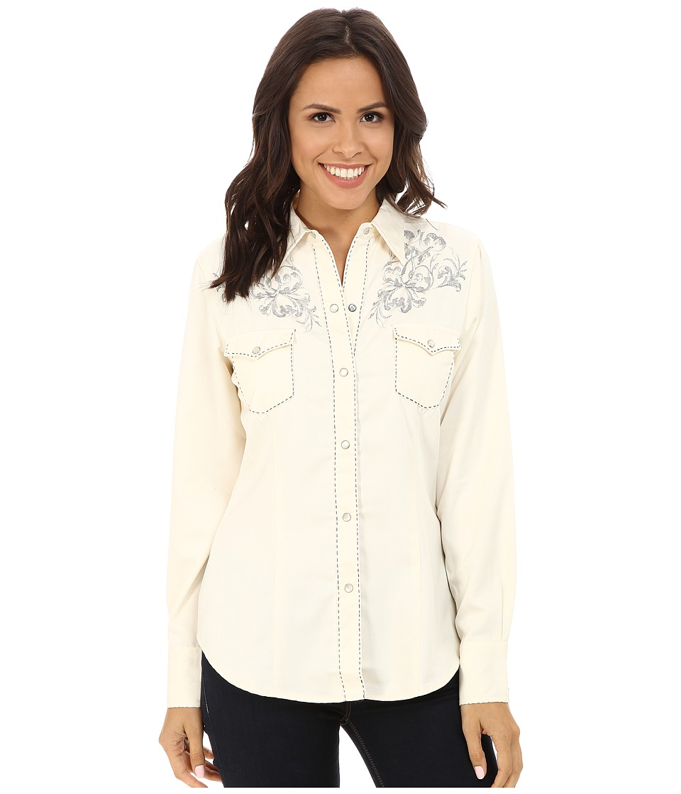 Roper - 65P/35R Twill w/ Antique Six Shooter (White) Women's Clothing