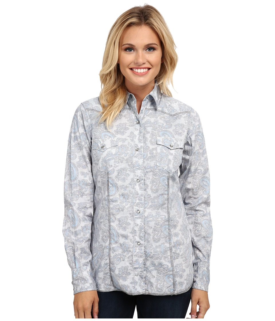 Roper - 9809 Soft Paisley (Blue) Women's Long Sleeve Button Up
