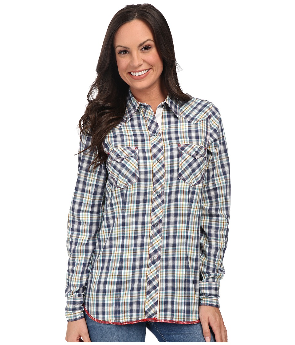 Roper - 9797 Southwest Plaid (Blue) Women's Long Sleeve Button Up