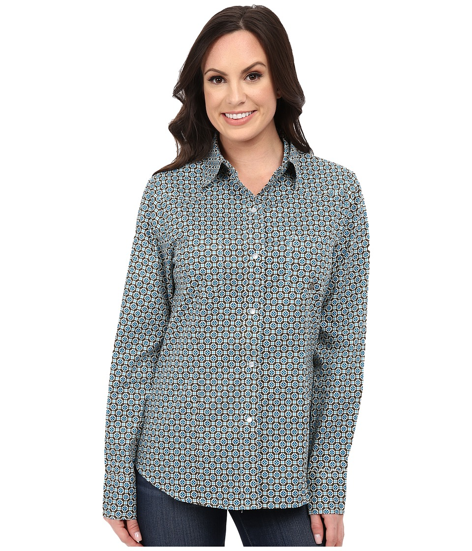 Roper - 9768 Diamond Foulard (Green) Women's Short Sleeve Button Up