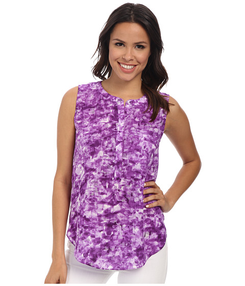 NYDJ - Sleeveless Georgette Blouse w/ Pleated Back (Water Print Deep Violet) Women