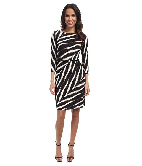 Calvin Klein - 3/4 Sleeve Printed Matte Jersey Sheath CD4AB2F6 (Black Multi) Women