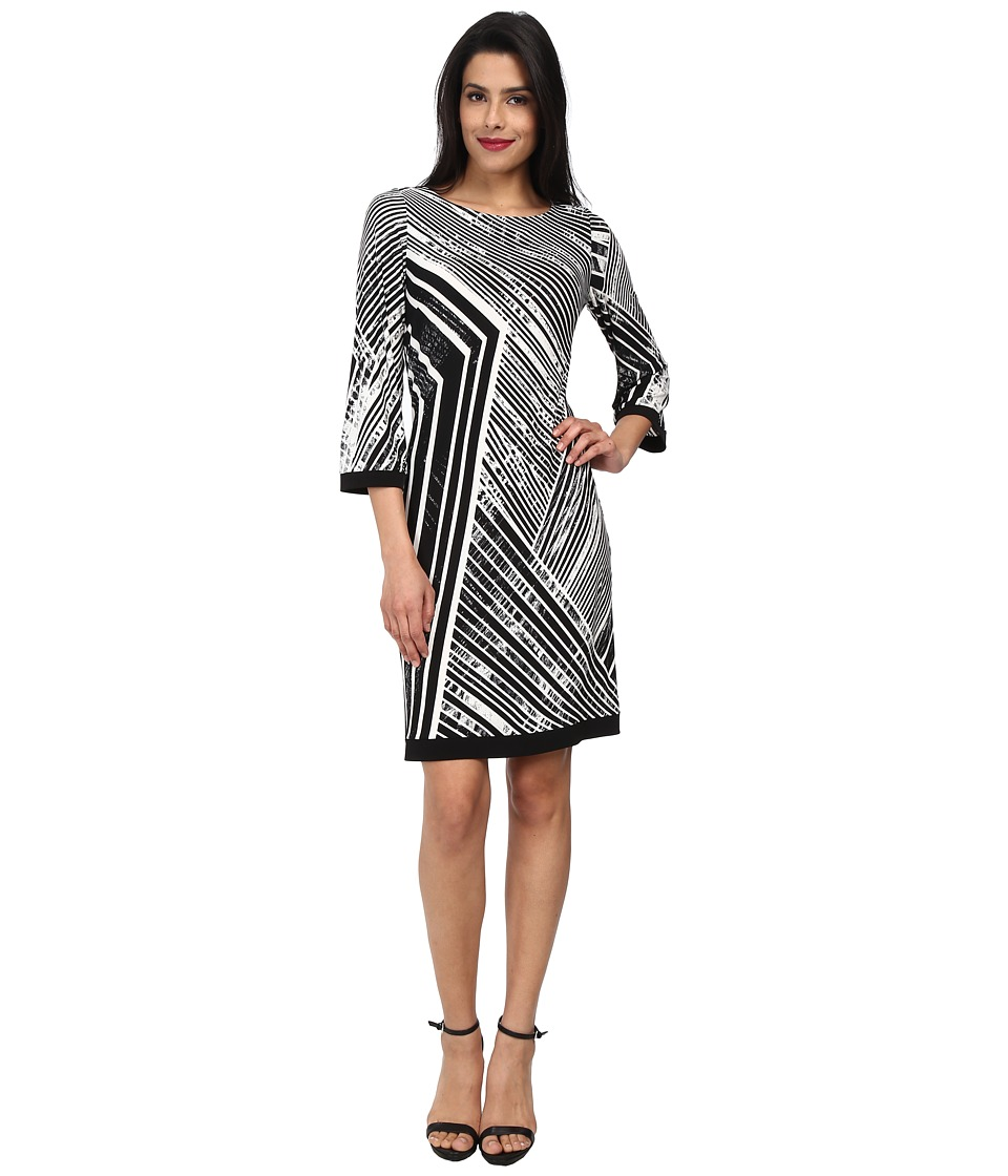 Calvin Klein - 3/4 Sleeve Printed Matte Jersey Shift CD4AD8M4 (Black Multi) Women's Dress
