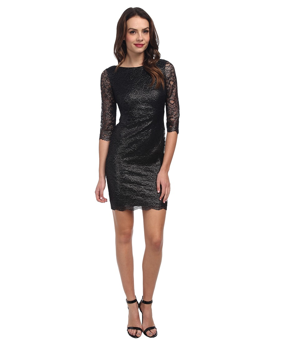 Calvin Klein - 3/4 Sleeve Lace Shift CD4L1230 (Black) Women's Dress