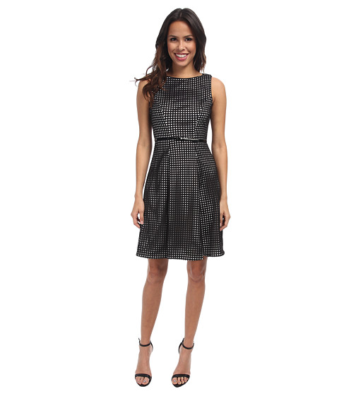 Calvin Klein - Scuba Laser Cut A-Line CD4M1421 (Black/Eggshell) Women's Dress