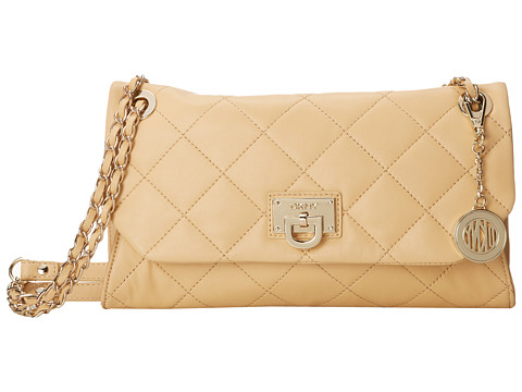 DKNY Gansevoort - Quilted Envelope Clutch w/ Adjustable Chain Handle (Nude) Clutch Handbags
