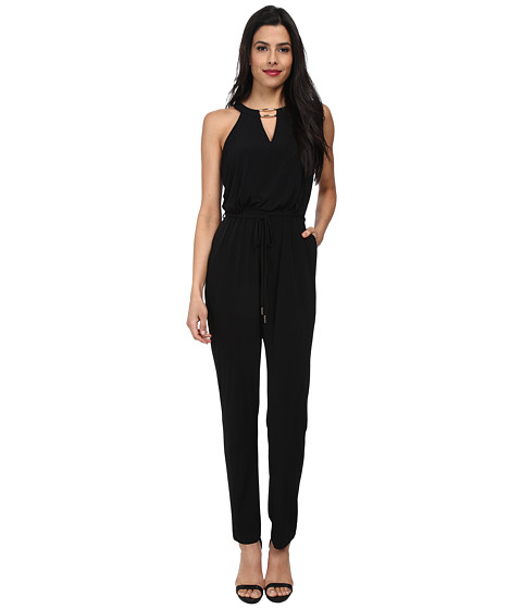 Calvin Klein - Jumpsuit with Gold Neck Hardware CD4A1459 (Black) Women