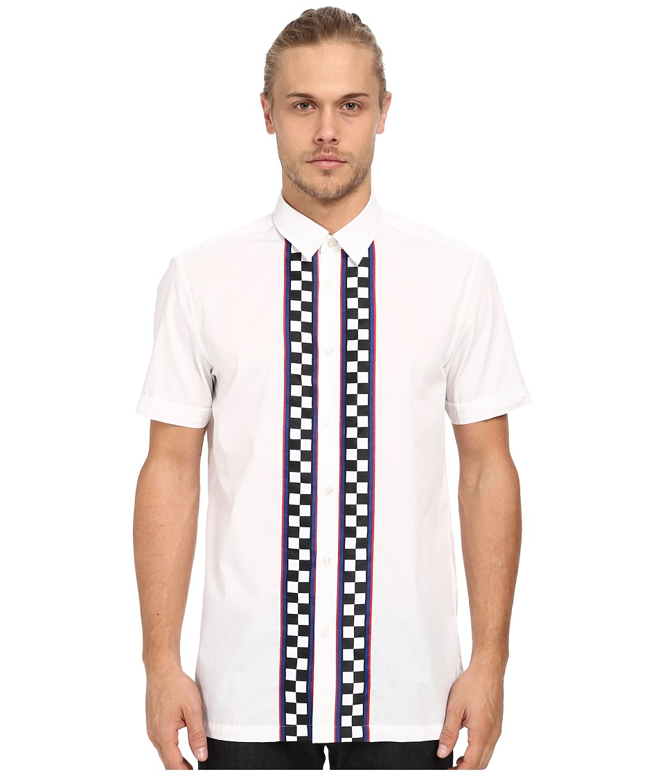 LOVE Moschino Check Short Sleeve Button Up White Mens Short Sleeve Button Up