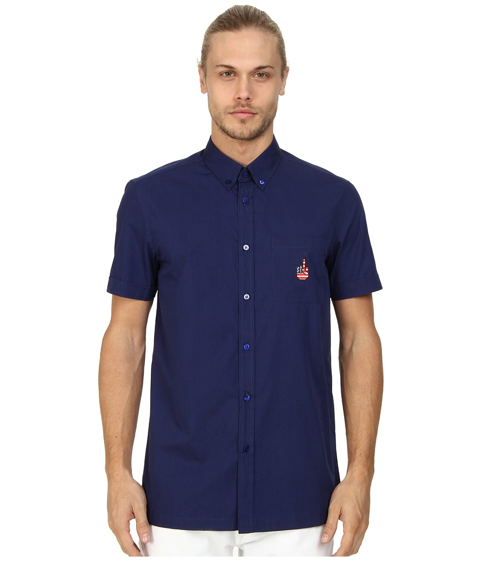 LOVE Moschino - Short Sleeve Blue Patch Button Up (Blue) Men's Short Sleeve Button Up