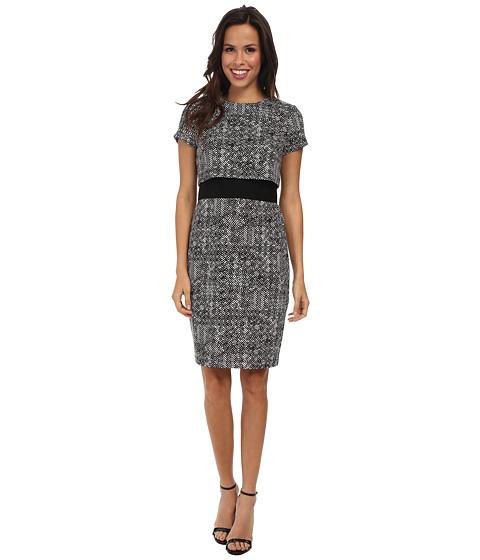 Calvin Klein - Printed Ponte Pop Over CD4P2155 (Black/Cream) Women's Dress