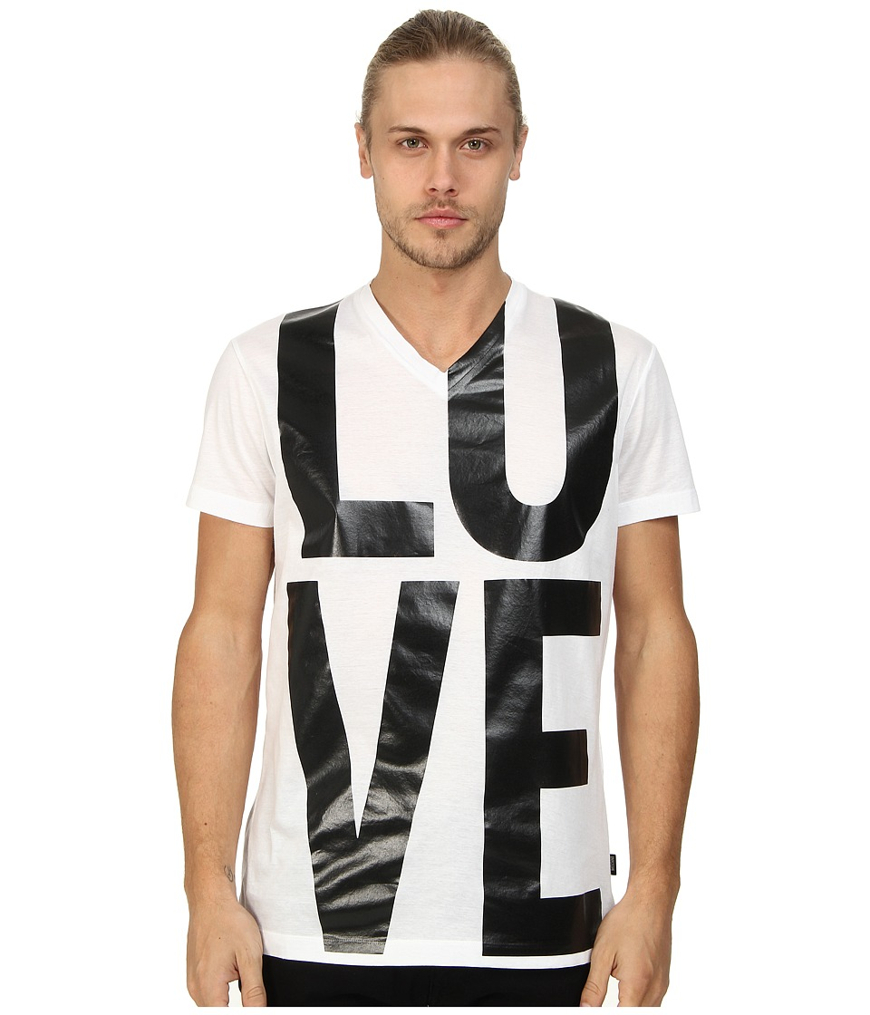 LOVE Moschino - Love Print V-Neck T-Shirt (White) Men's T Shirt