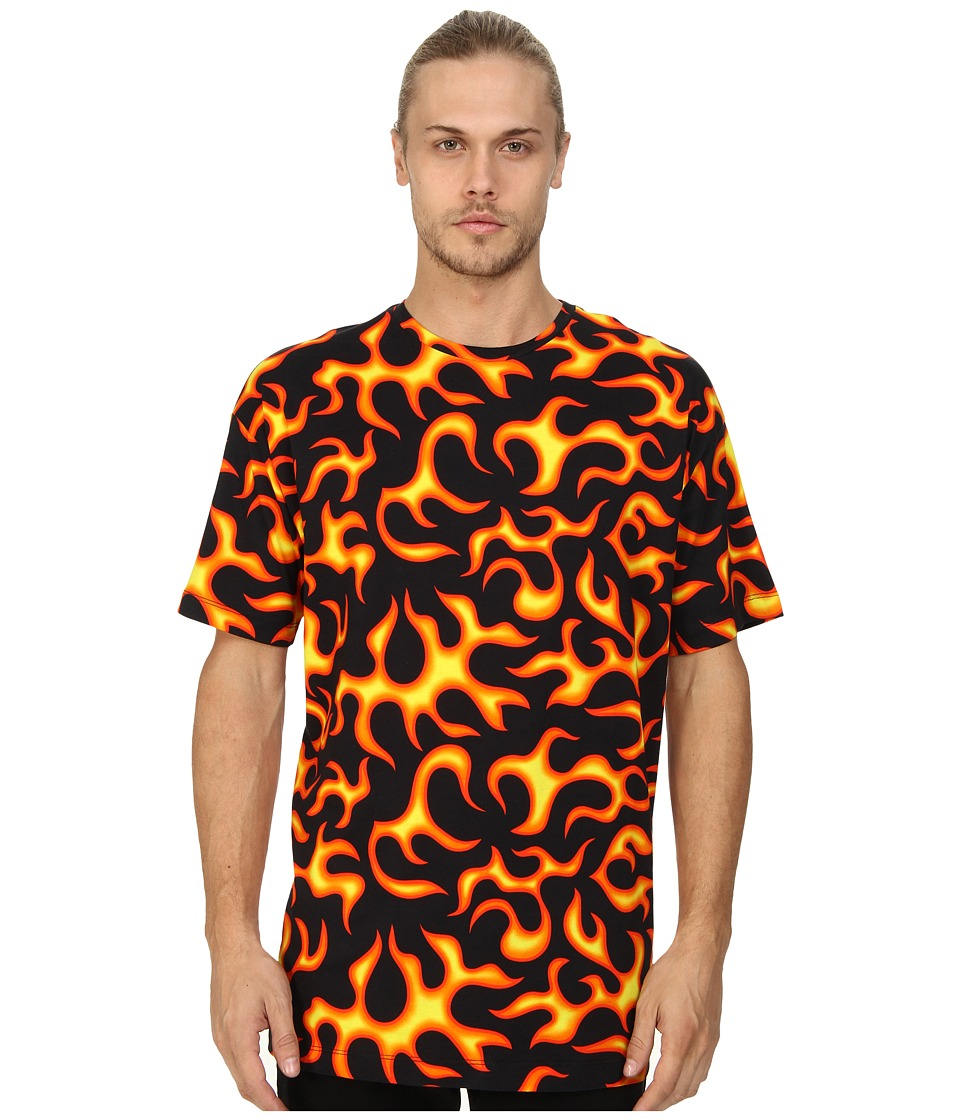 LOVE Moschino - All Over Fire Print T Shirt (Multi) Men