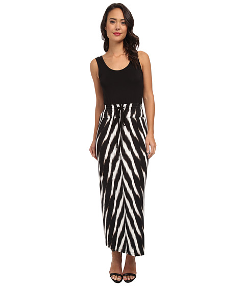 Calvin Klein - Rayon Span Maxi with Printed Skirt CD4N2356 (Black Multi) Women's Dress